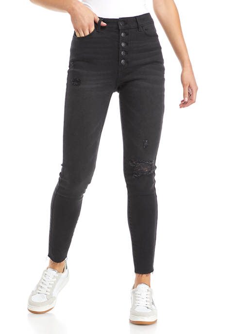 TRUE CRAFT Button Front High Rise Skinny Jeans