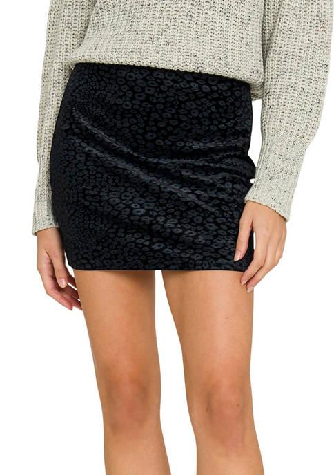 Animal Print Velvet Skirt