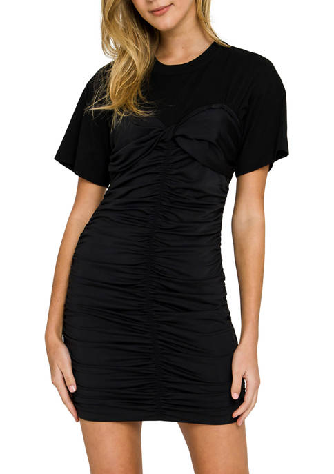 Womens Fitted Ruched T-Shirt Dress