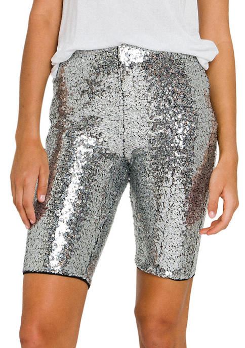 Grey Lab Womens Sequin Biker Shorts
