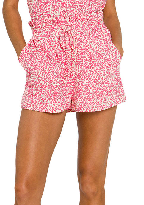 Free The Roses Leopard Knit Shorts