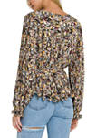 Womens Multicolor Pleated Top