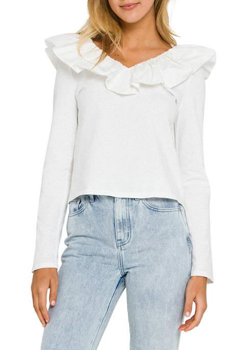 Ruffle Combo Long Sleeve T-Shirt
