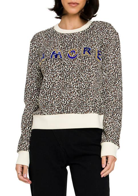 Lettering Embellishment Leopard Swearshirt