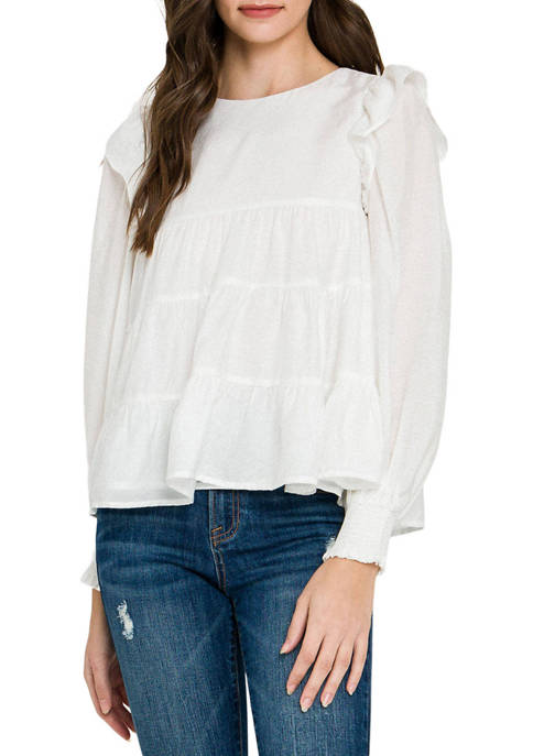 Womens Tiered Ruffle Detail Blouse