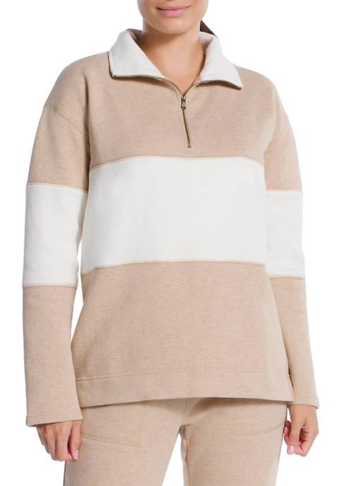 Chaps Terry Three Quarter Zip Sweatshirt