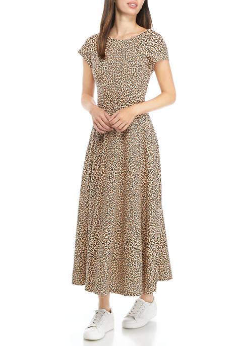 Womens Leopard Midi Dress