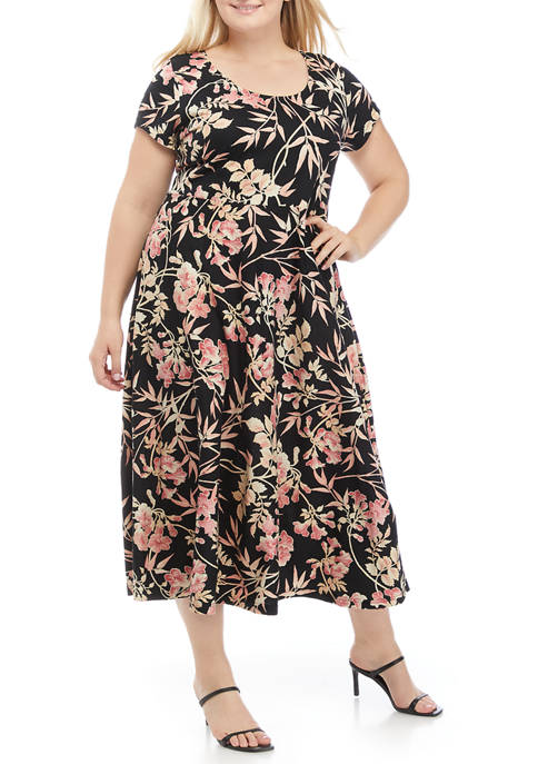 Chaps Plus Size Short Sleeve Floral Dress