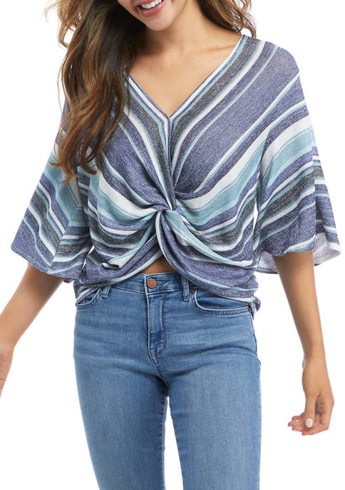 Gypsies and Moondust Juniors Flare Sleeve Striped Knit
