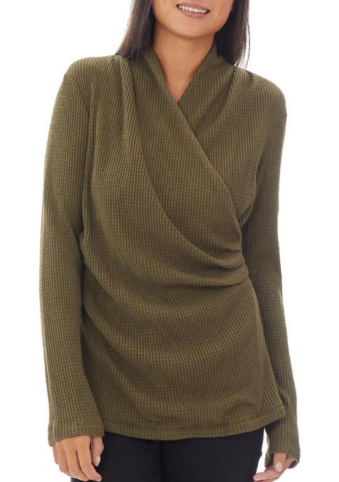 JONES NEW YORK Womens Long Sleeve Wrap Top