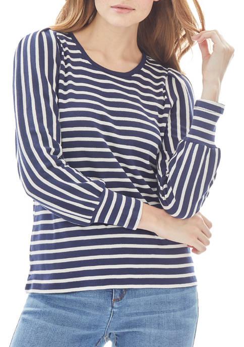 JONES NEW YORK Womens Striped Long Puff Sleeve