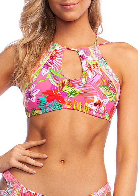 Flor-All or Nothing High Neck Keyhole Bikini Swim Top