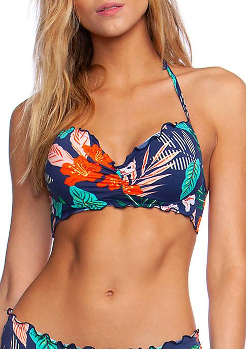 Hibiscus Jungle Ruffle Halter Swim Top with Underwire
