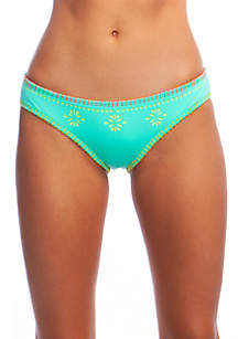 Papel Picado Medium Coverage Hipster Swim Bottoms with Blanket Stitching
