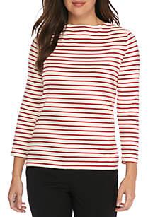 Three-Quarter Sleeve Striped Boat Neck Top