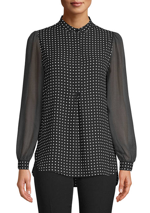 Anne Klein Womens Long Sleeve Mini Dot Blouse