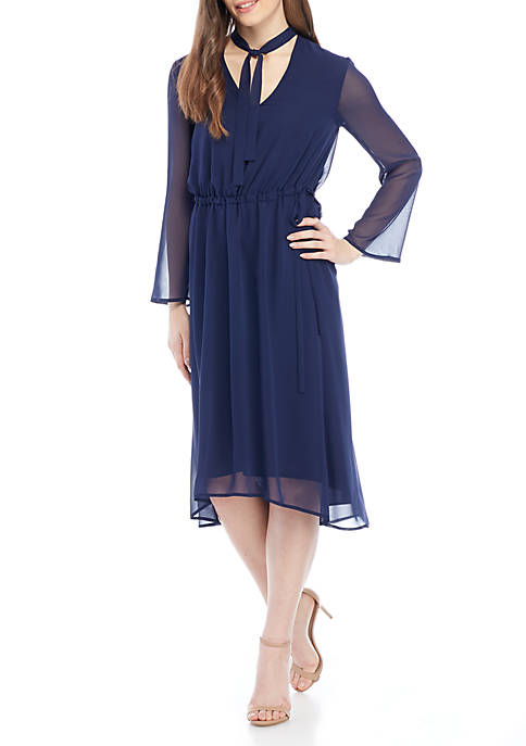Anne Klein Long Sleeve V-neck Georgette Fit-And-Flare Dress