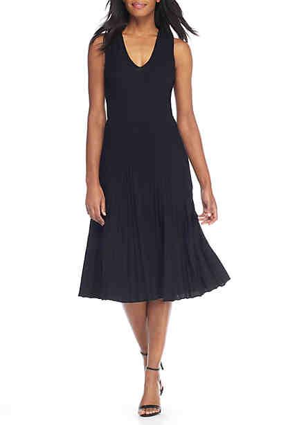 Anne Klein Long Ribbed Waist Seam Sweater Dress ...