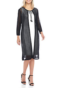 Black Perforated Long Duster