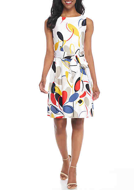 Anne Klein Gazebo Cotton Fit-and-Flare Dress ...