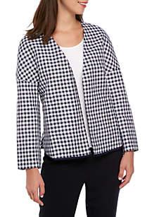 Checkered Print Dolman Sleeve Jacket
