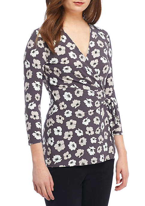 Anne Klein 3/4 Sleeve Printed Wrap Top