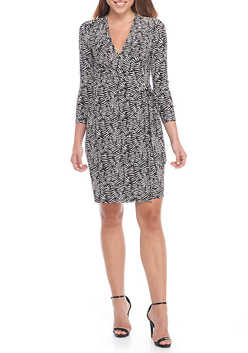 Anne Klein Cedarwood Printed Wrap Dress