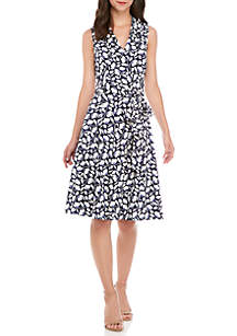Notch Circle Wrap Dress with Full Skirt