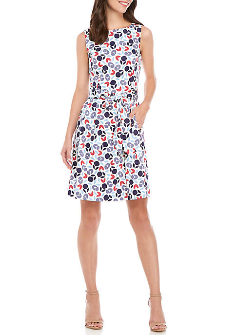 Anne Klein Printed Fit-and-Flare Dress