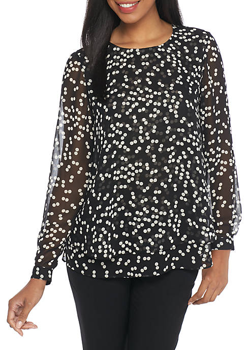 Anne Klein Double Layer Long Sleeve Blouse