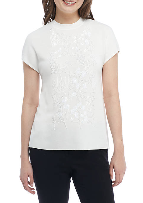 Anne Klein Embellished Mock Neck Sweater