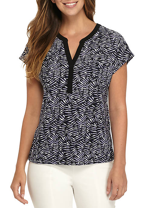 Anne Klein Split Placket Top