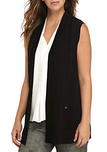 Open Front Vest with Pockets