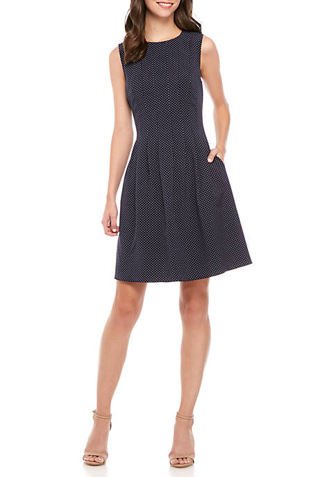 Anne Klein Polka Dot Crepe Fit-and-Flare Dress