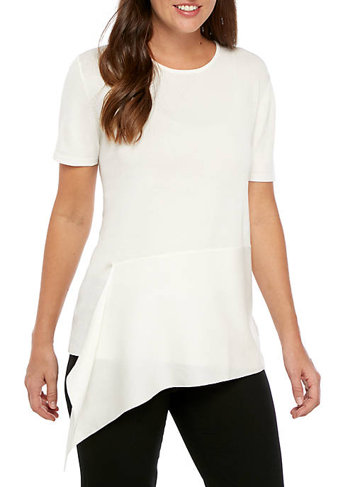 Anne Klein Short Sleeve Asymmetrical Crew Neck Top