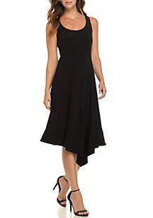 Scoop Neck Asymmetric Hem Dress