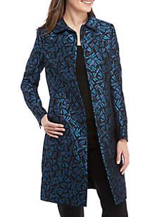 Jacquard Peter Pan Collar Long Coat