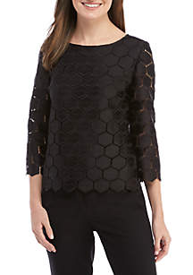 3/4 Sleeve Geometric Lace Blouse