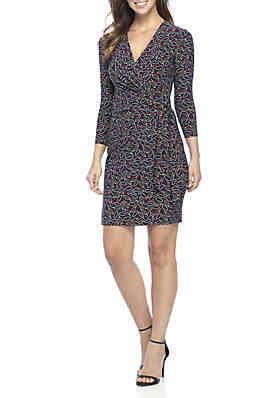 Anne Klein Ragtime Print Clic Wrap Dress