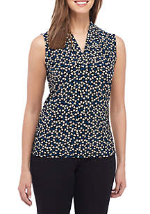 Printed V-Neck Pleat Top