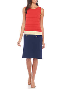 Colorblock Sheath Dress with Faux Pockets
