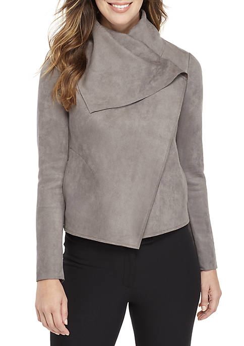 Asymmetrical Suede Front Jacket