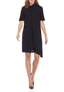 Crepe Front Asymmetrical Dress