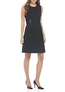 Fit-and-Flare Dress with Gold Buttons