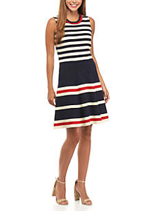 Multi Stripe Fit-And-Flare Dress