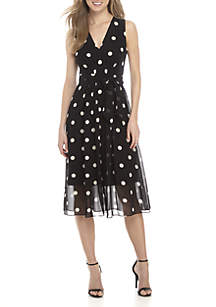 Polka-Dot V-Neck Midi Dress
