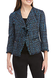Tweed Fringe Jacket with Faux Pockets