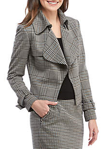Houndstooth Plaid Cascading Collar Jacket