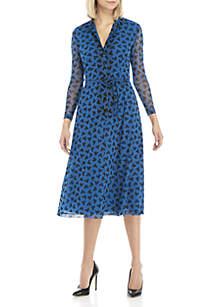 Long Sleeve Printed Mesh Button Down Dress