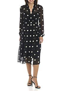 Polka Dot Fit-and-Flare Midi Dress